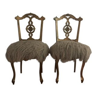 Louis XV Antique Fur Upholstered Parlor Chairs - A Pair