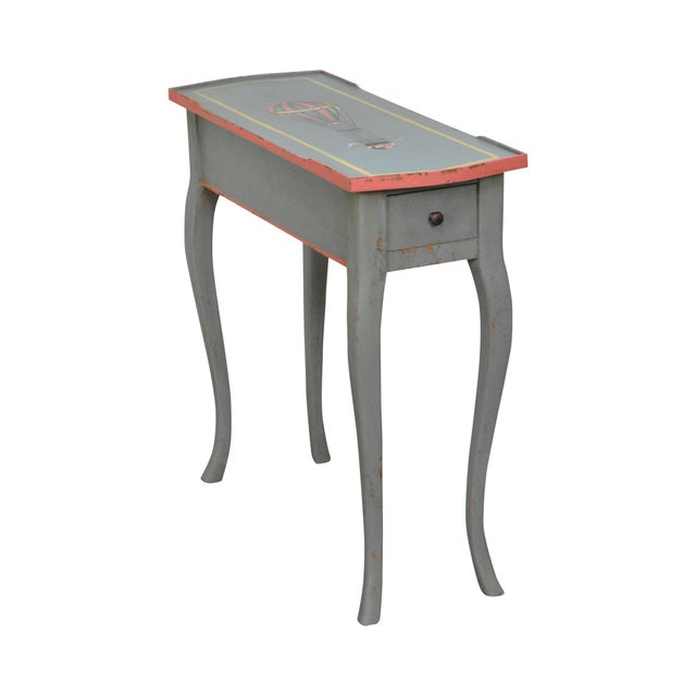 French Louis XV Style Hand Painted Narrow 1 Drawer Side Table w/ Hot Air Balloon For Sale - Image 11 of 11