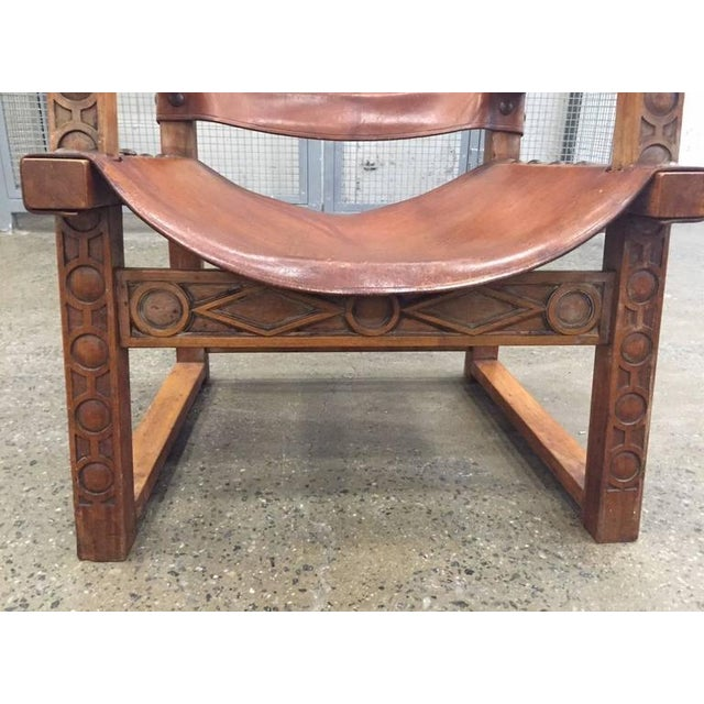 Animal Skin Vintage Spanish Baroque Leather Armchair For Sale - Image 7 of 9
