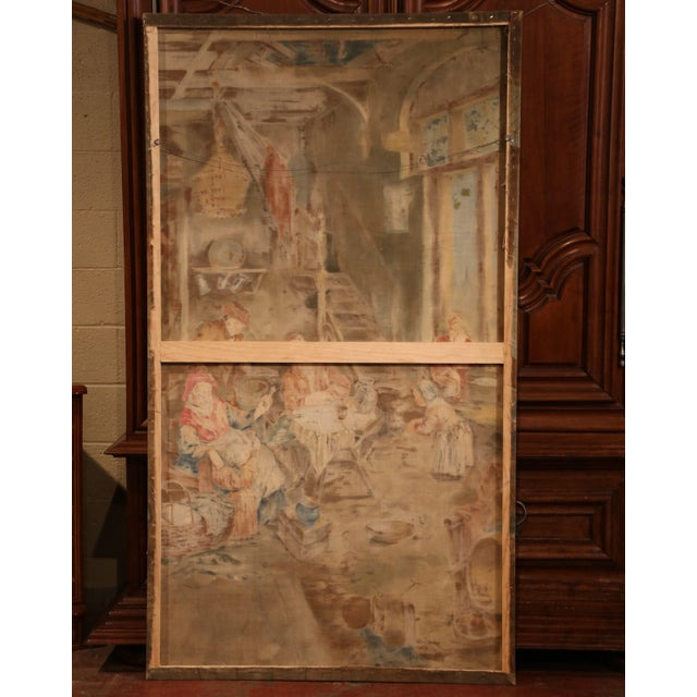 White Large 19th Century French Hand-Painted Canvas on Stretcher After David Teniers For Sale - Image 8 of 9