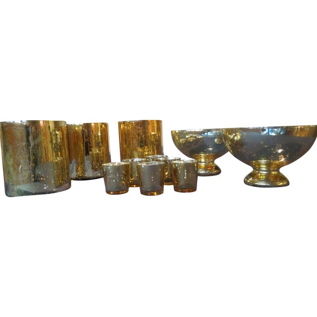 Gold Mercury Glass Vases & Votives - Image 1 of 5