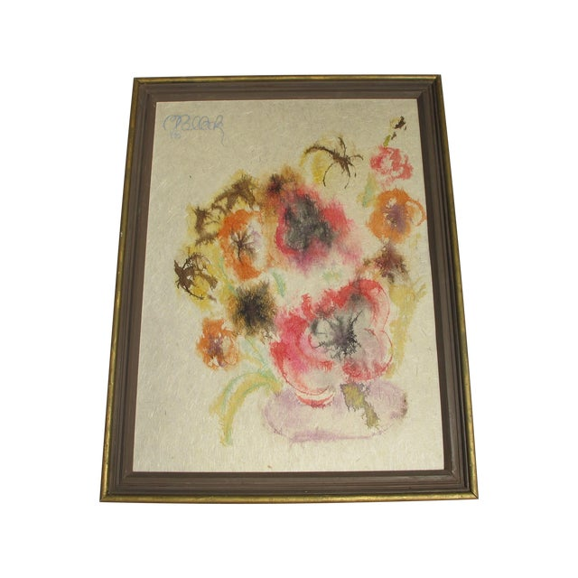 """1960s """" Love Power"""" Flower Painting - Image 1 of 4"""