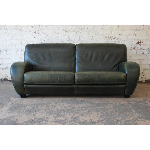 Green Roche Bobois Art Deco Green Leather Sofa For Sale - Image 8 of 8