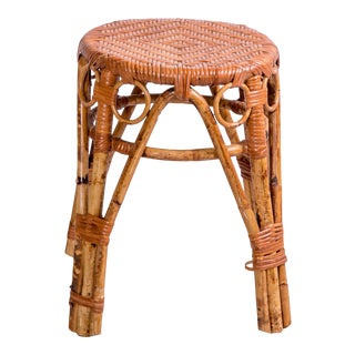 1950s Vintage Petite Rattan Stool For Sale