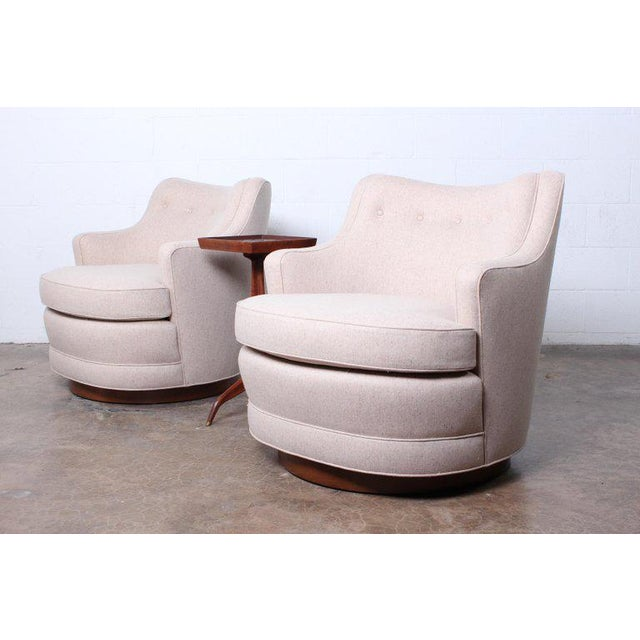 Pair of Dunbar Swivel Chairs by Edward Wormley For Sale - Image 10 of 11