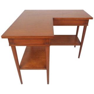 Unusual Mid-Century Modern Walnut Two-Tier Corner Table For Sale