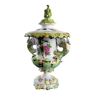 Herend Vbo Queen Victoria Swan Vase W Pierced Lid For Sale