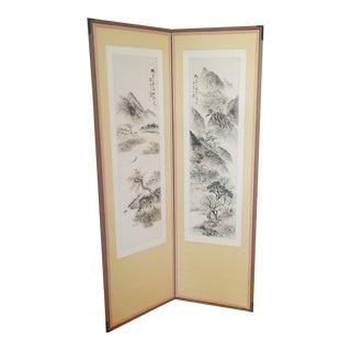 1960s Vintage Korean Hand Painted Seasons Silk Screen For Sale