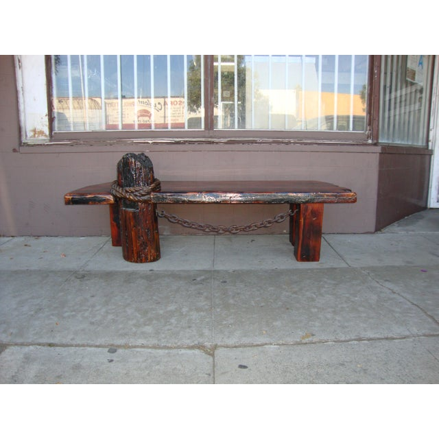 Vintage Rustic Redwood Coffee Table. For Sale - Image 11 of 11