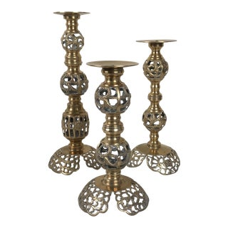 Tall Pierced Vintage Brass Candle Holders - Set of 3 For Sale