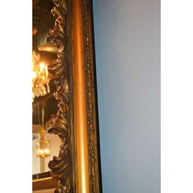 19th Century Italian, Gilded Large Mirror Hand Carved on Wood and Plaster For Sale - Image 4 of 8