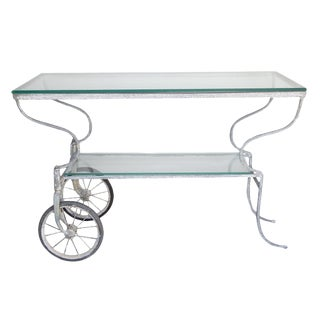 White Metal Trolley With Two Glass Shelves For Sale