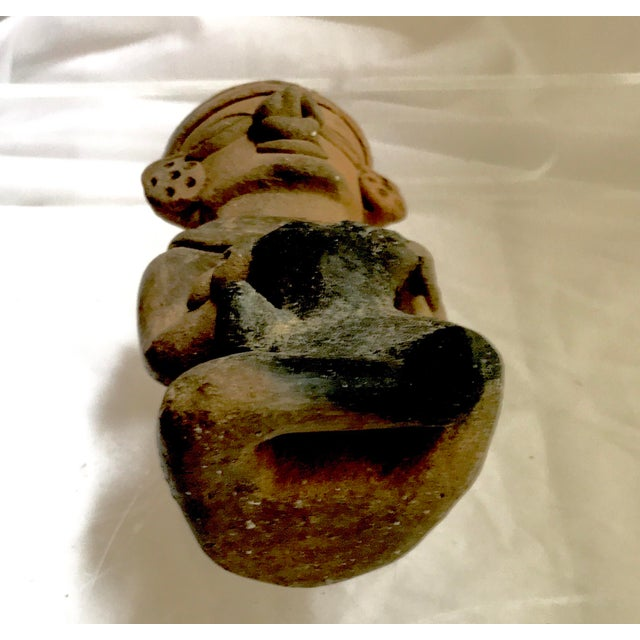 Pre-Columbian Mayan or Aztec Seated Terracotta Figurine - Image 4 of 7