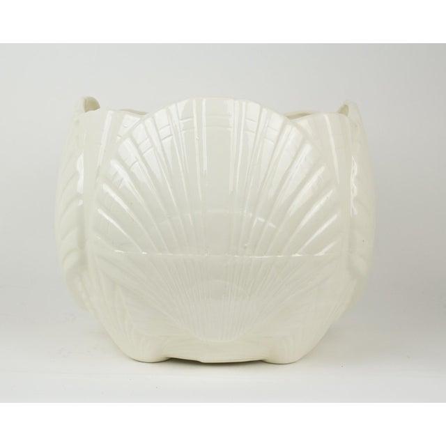 Ceramic Large White Ceramic Sea Shell Planter Cache Pot For Sale - Image 7 of 10