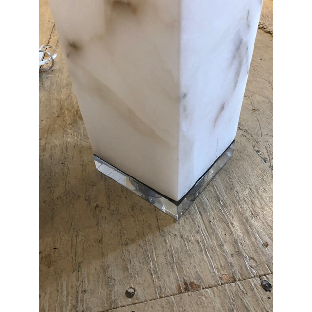 2010s Marble Cubes on Lucite Bases Table Lamps - a Pair For Sale - Image 5 of 8