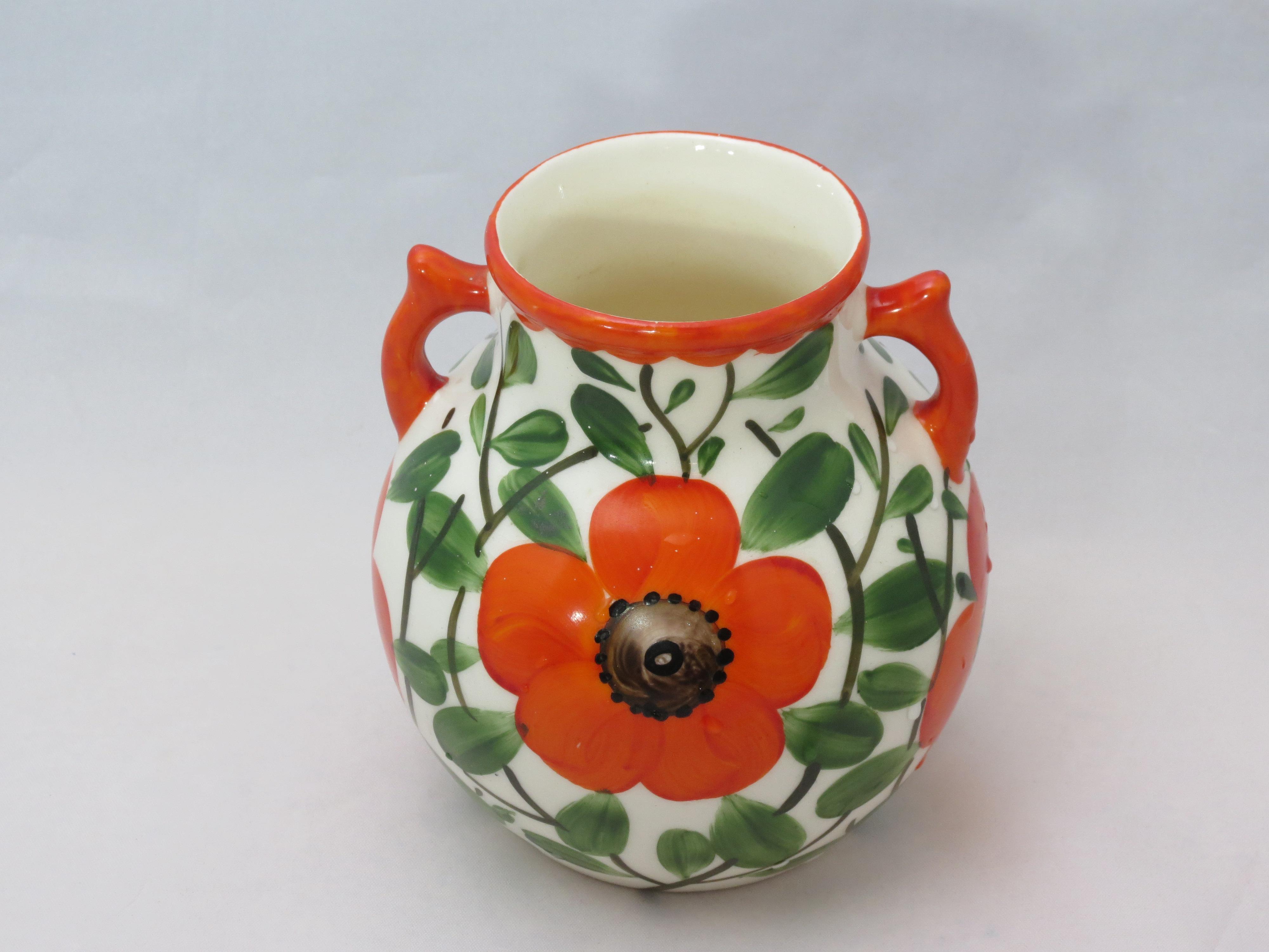 Gerold Porzellan 1960's Czech Registered Orange Poppy Vase