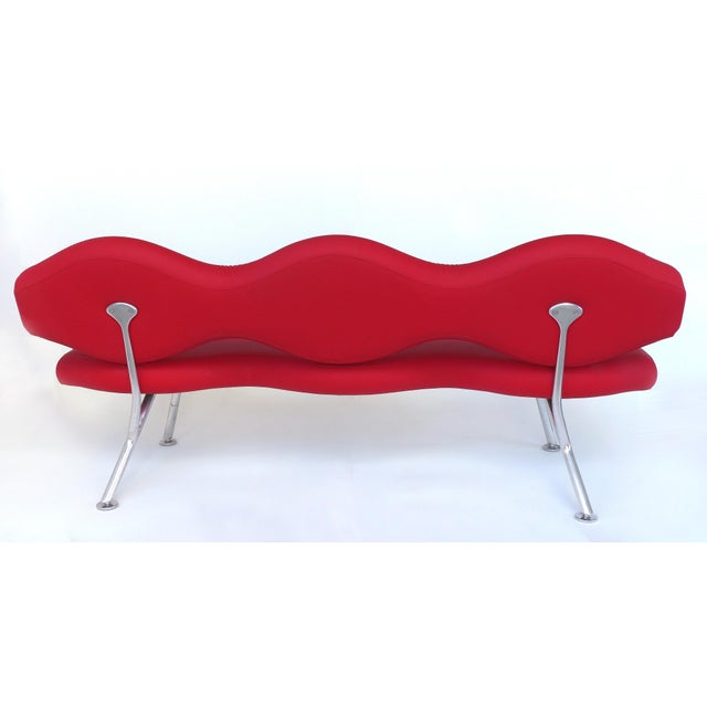 Modern Sculptural Contemporary Sofa With a Polished Aluminium Frame For Sale - Image 3 of 11