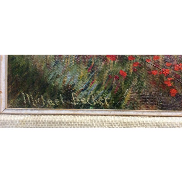 Green Antique Framed Impressionism Signed Painting For Sale - Image 8 of 11