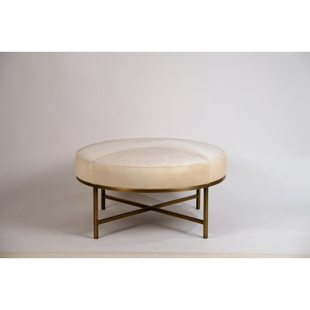 DESIGN FRERES Small White Hide and Patinated Brass 'Tambour' Ottoman by Design Frères For Sale - Image 4 of 9