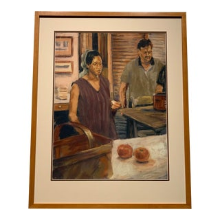"""Dean Kube """"Untitled (Man and Woman)"""" Framed Pastel on Paper, 1995 For Sale"""