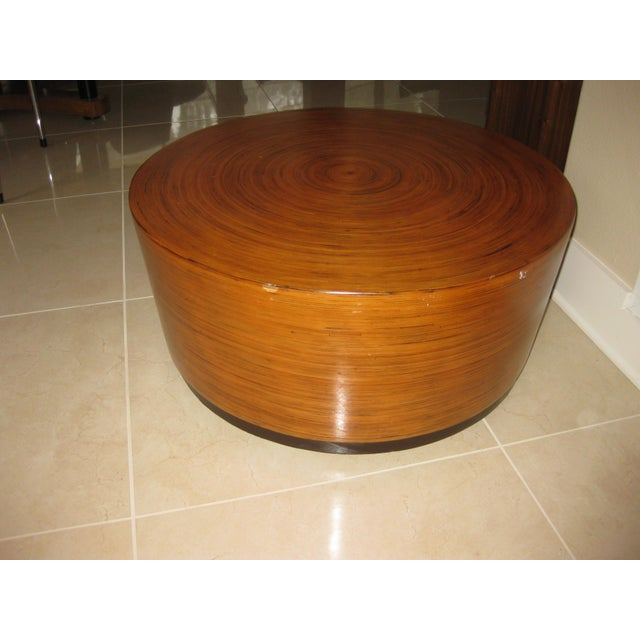 """Mid-Century Modern Round Drum Low Table 30"""" For Sale - Image 9 of 12"""