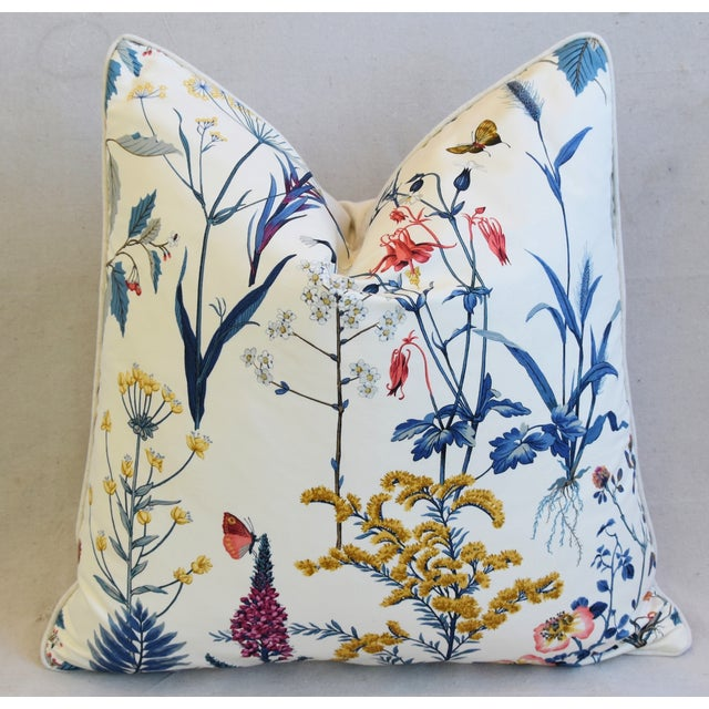 "Early 21st Century Floral Wildflower Botanical Cotton & Linen Feather/Down Pillows 24"" Square - Pair For Sale - Image 5 of 13"