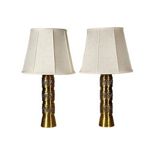 1960s Brass Scroll Table Lamps - A Pair