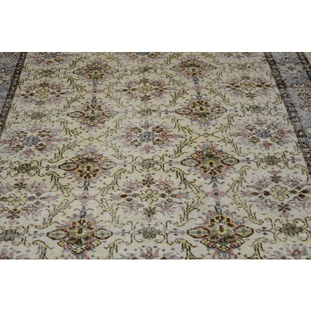 Vintage Muted Color Wool Rug Turkish Anatolian Oushak Rug Tribal Hand-Knotted Oriental Rug Livingroom Antique Nomadic Rug 6x9 Ft For Sale In San Francisco - Image 6 of 8