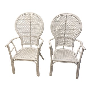 Vintage Tall Back White Bamboo Chairs - a Pair For Sale