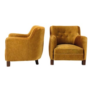1940s Danish Modern Gold Upholstered Club Chairs - a Pair