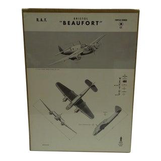 "Vintage Bristol ""Beaufort "" WW II Aircraft Recognition Poster Circa 1942"