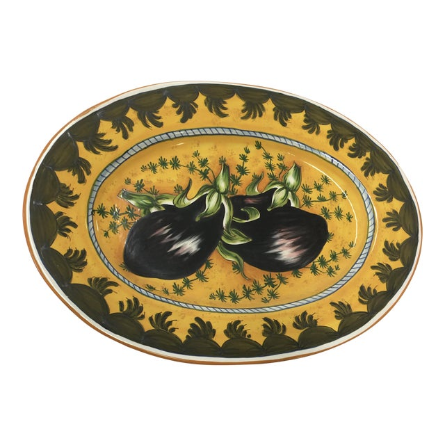 Italian Ceramic Platter Eggplant Hand Painted For Sale