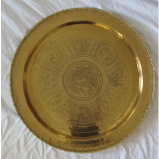 "30"" Round Chinese Etched Brass Wall Hanging Medallion Charger Table Top Asian Chinoiserie Preview"