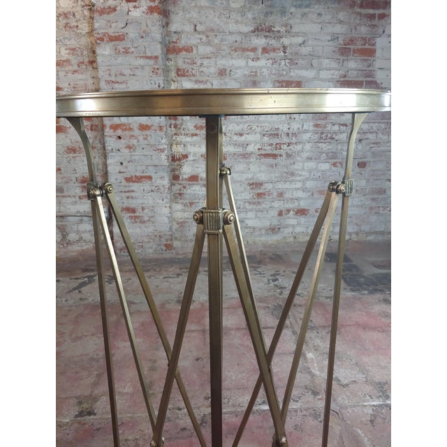 French Director Empire Campaign Bronze Tall Side Table For Sale - Image 4 of 8