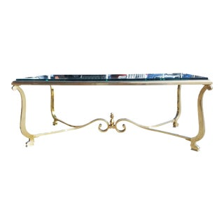 A French Neoclassical Hollywood Regency Brass Coffee Table For Sale