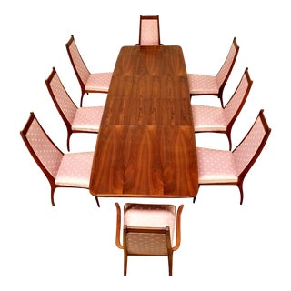 Vintage Mid Century Milo Baughman Dining Set- 9 Pieces For Sale