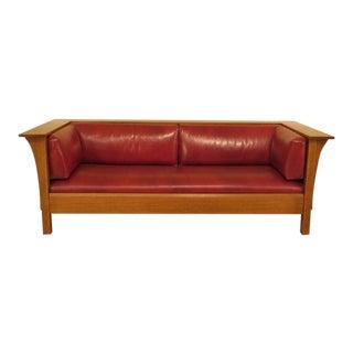 Stickley Mission Oak Red Leather Arts & Crafts Sofa