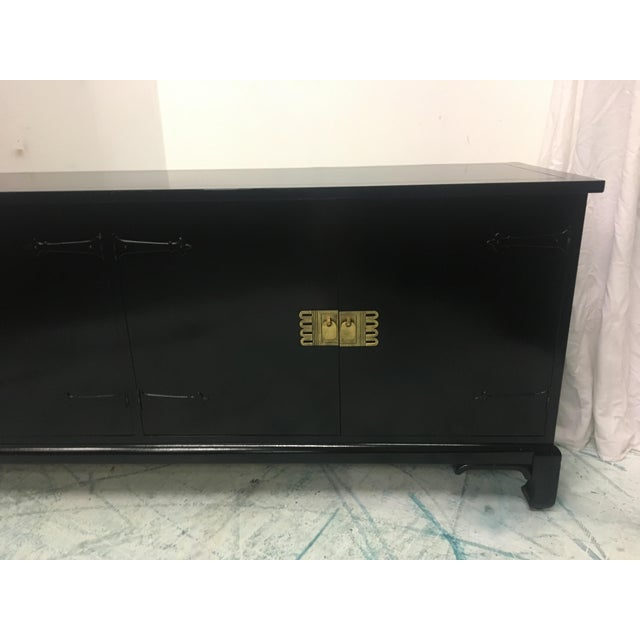 Asian Style Black Lacquered Credenza - Image 5 of 7