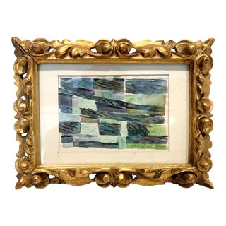Diminutive Abstract Cubist Painting in Giltwood Frame For Sale