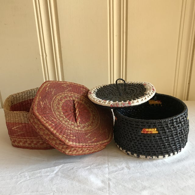 Natural Woven Boho Basket Boxes - A Pair - Image 2 of 10