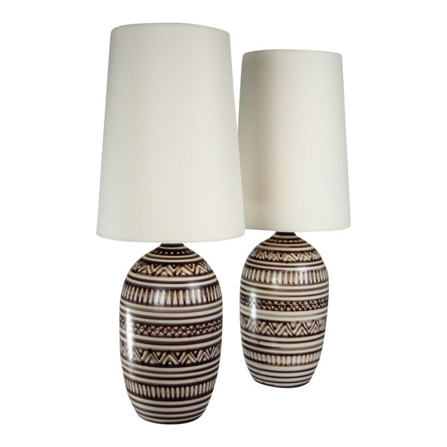 Tribal Lotte Stoneware Table Lamps - A Pair - Image 1 of 3