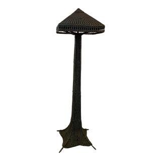 Antique Wicker Floor Lamp For Sale