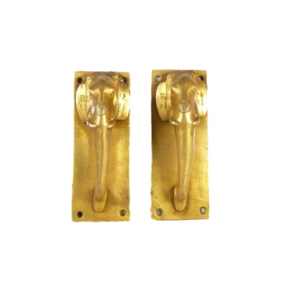 Mid 20th Century Brass Elephant Door Handles - a Pair For Sale - Image 5 of 5