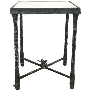 Ilana Goor Brutalist Bronze Side or End Table With Bird and Flower For Sale