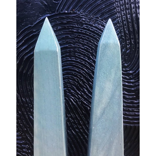Neoclassical Vintage Neoclassical Seafoam Green Stone Obelisks -A Pair For Sale - Image 3 of 6
