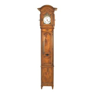 Mid-18th Century French Provincial Walnut and Fruitwood Grandfather Clock For Sale