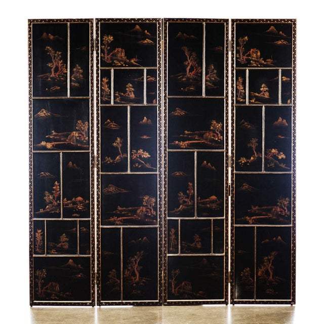 The magnificently large Japanese hand-painted 4-panel screen has individually framed paintings, each with its own raised-...