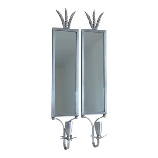 1930s Mirrored Art Deco Aluminum Wall Sconces by Palmer Smith - a Pair For Sale