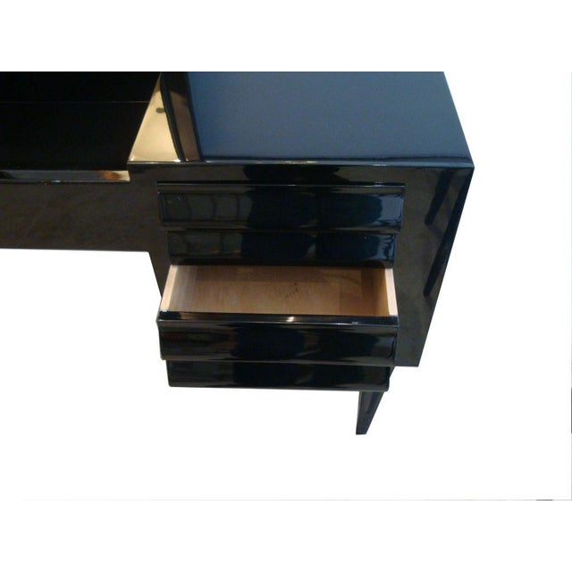 Vanity or Dressing Table in Black Lacquer Mid-Century Italy For Sale - Image 4 of 5
