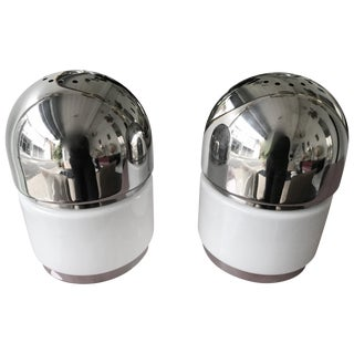 Pair of Salt and Pepper Lamps Chrome Opaline Glass by Reggiani, Italy, 1970 For Sale